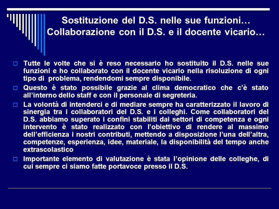 Sostituzione del D. S. nelle sue funzioni… Collaborazione con il D. S