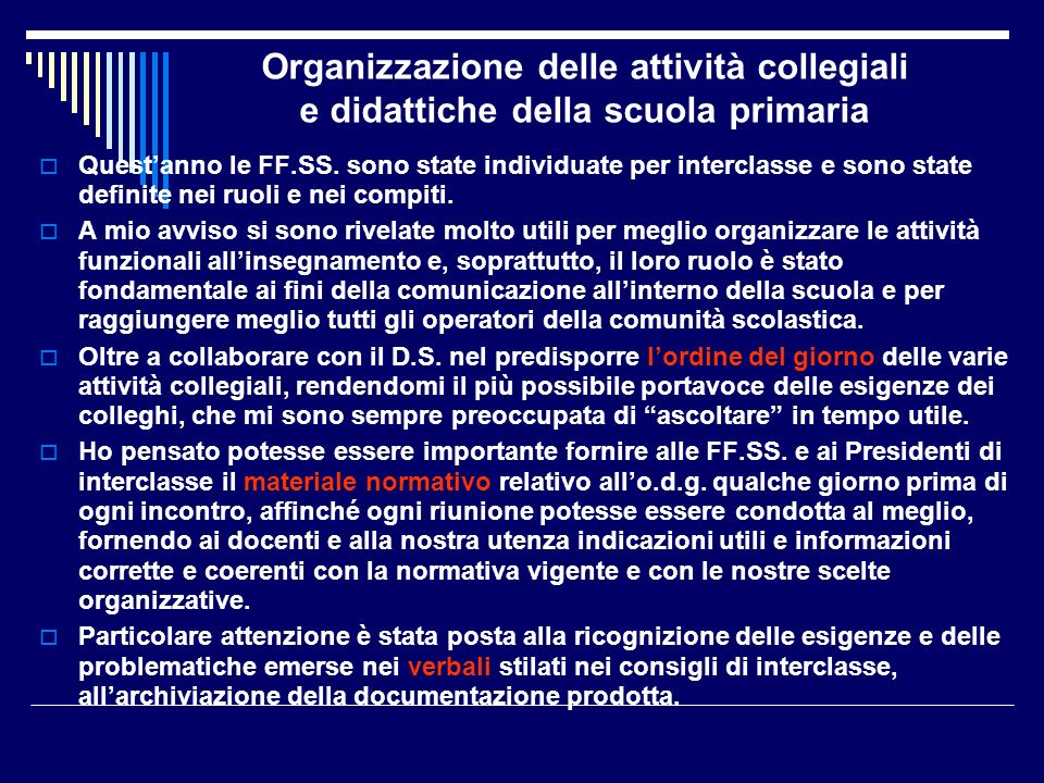 Organizzazione delle attività collegiali e didattiche della scuola primaria
