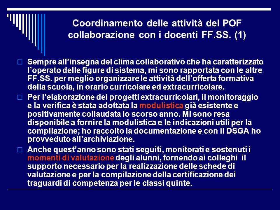 Coordinamento delle attività del POF collaborazione con i docenti FF