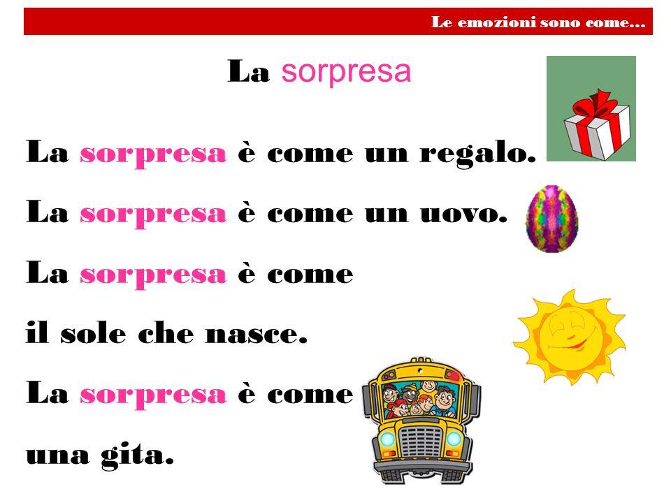 La sorpresa è come un regalo. La sorpresa è come un uovo.