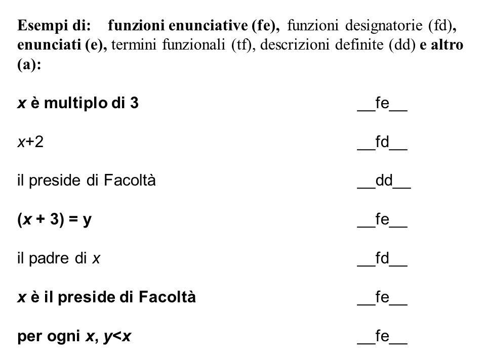 Esempi di: funzioni enunciative (fe), funzioni designatorie (fd),