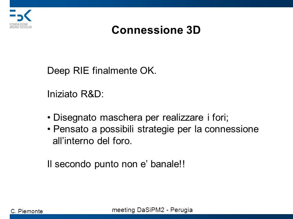 Connessione 3D Deep RIE finalmente OK. Iniziato R&D: