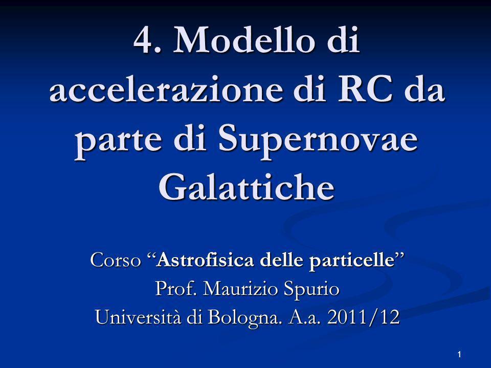 4. Modello di accelerazione di RC da parte di Supernovae Galattiche