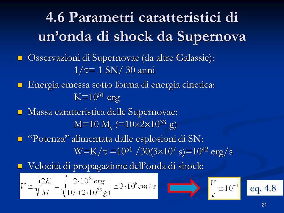 4.6 Parametri caratteristici di un'onda di shock da Supernova