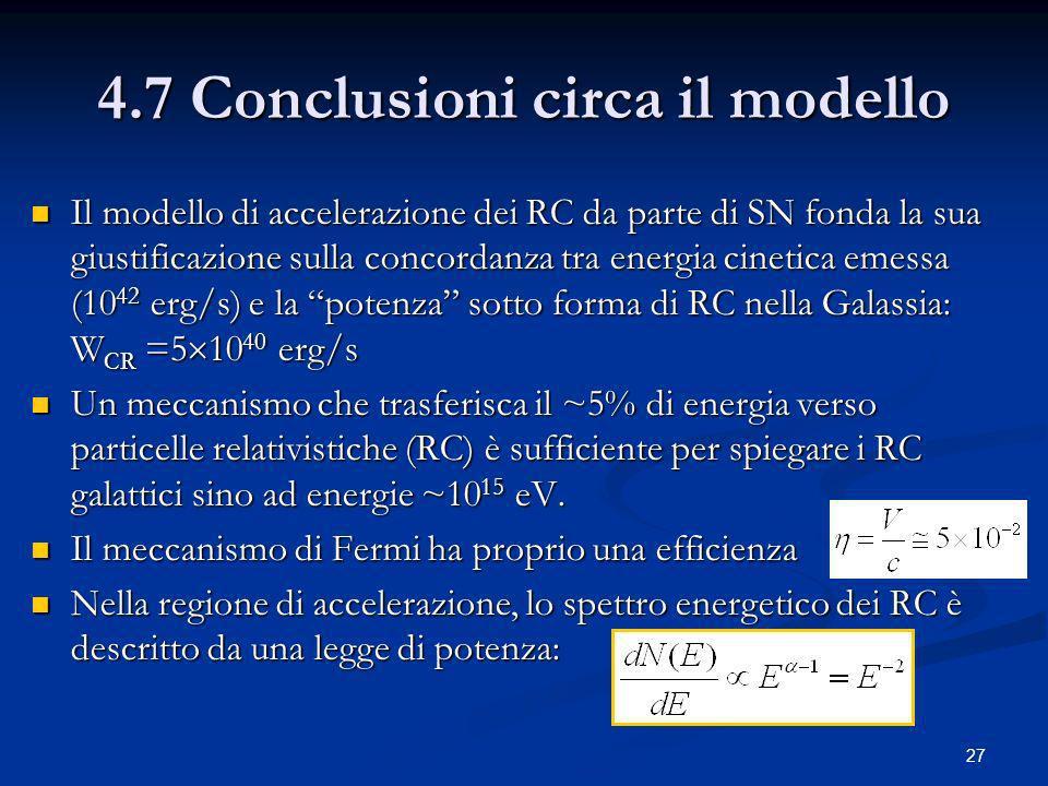 4.7 Conclusioni circa il modello