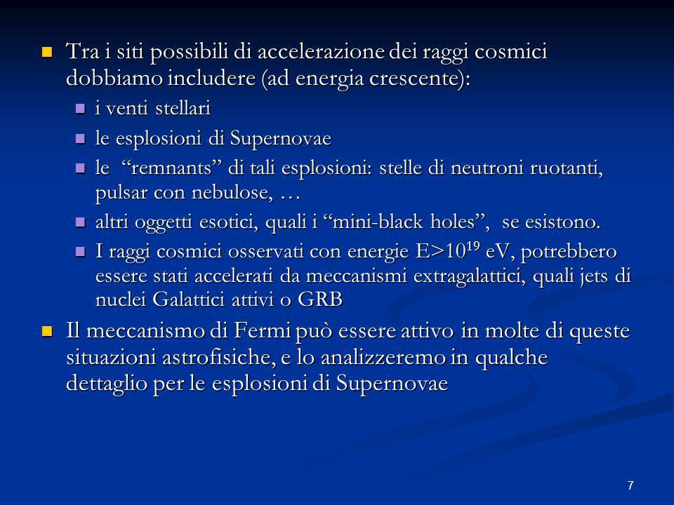 Tra i siti possibili di accelerazione dei raggi cosmici dobbiamo includere (ad energia crescente):