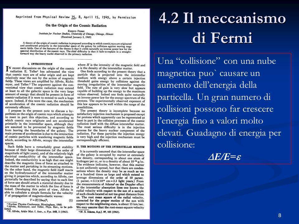 4.2 Il meccanismo di Fermi Una collisione con una nube magnetica puo` causare un aumento dell'energia della particella. Un gran numero di.