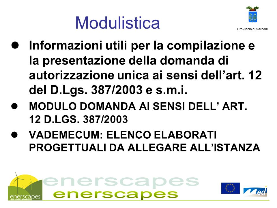 Modulistica enerscapes