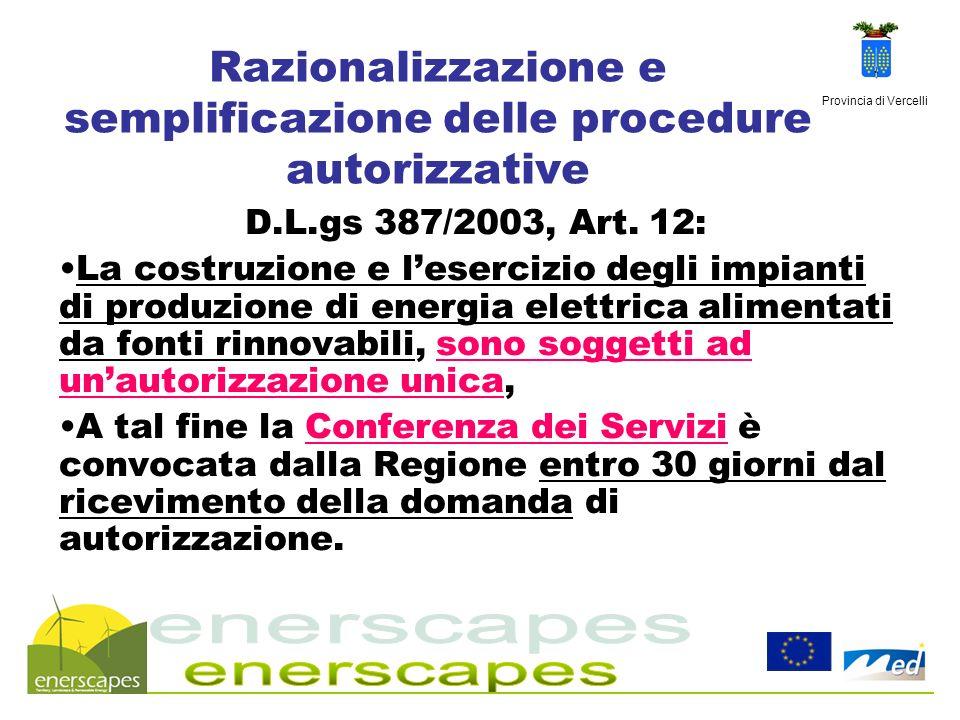 Razionalizzazione e semplificazione delle procedure autorizzative
