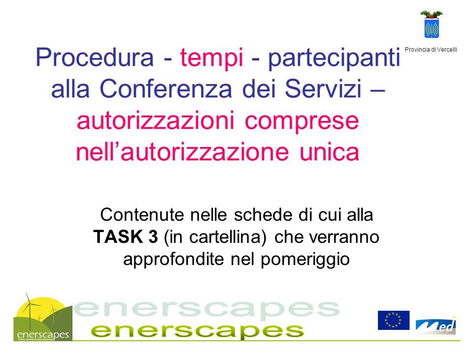 29/03/2017 Procedura - tempi - partecipanti alla Conferenza dei Servizi – autorizzazioni comprese nell'autorizzazione unica.