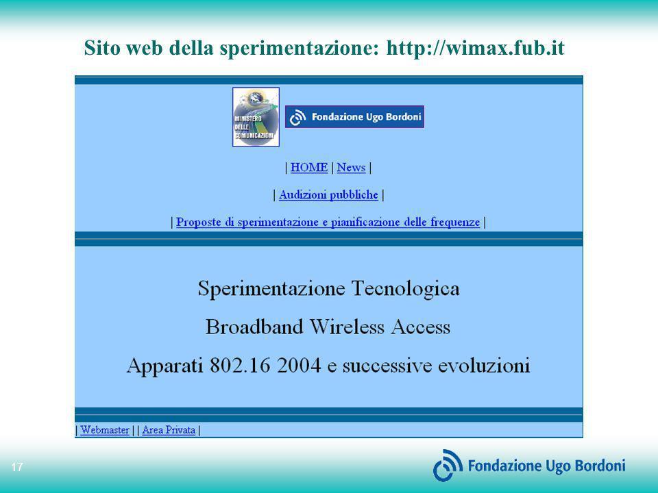 Sito web della sperimentazione: http://wimax.fub.it