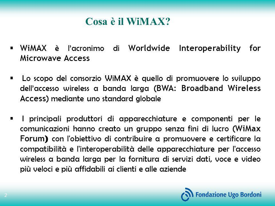 Cosa è il WiMAX WiMAX è l'acronimo di Worldwide Interoperability for Microwave Access.