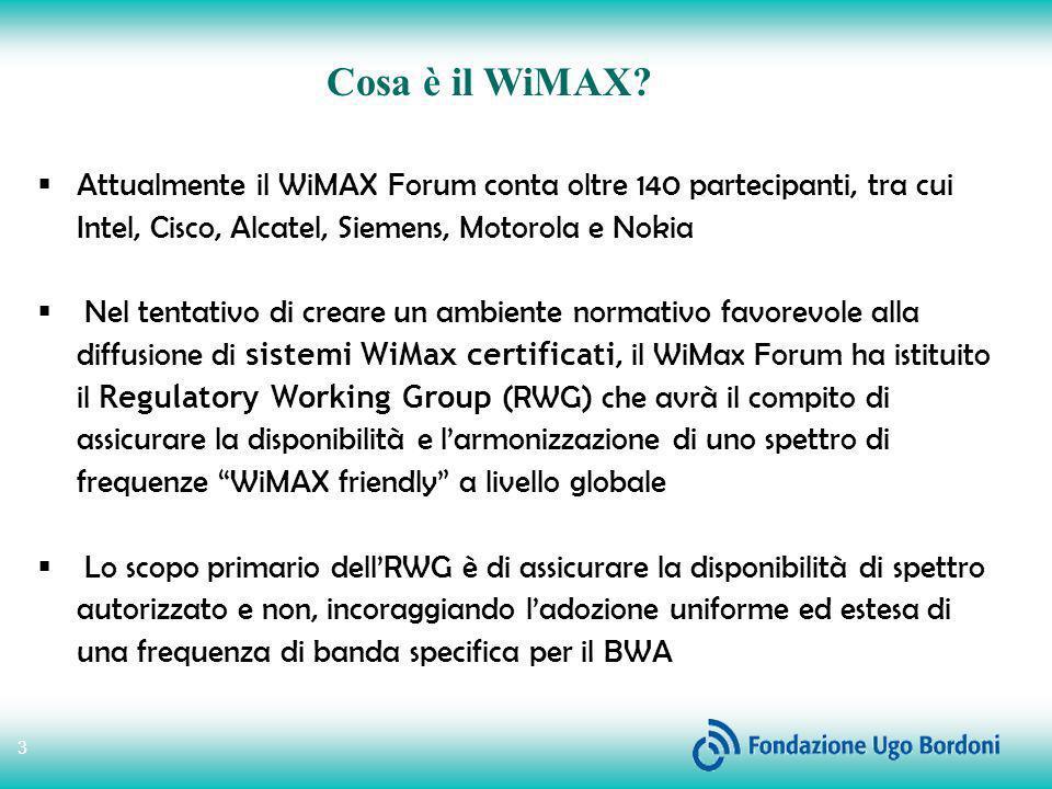Cosa è il WiMAX Attualmente il WiMAX Forum conta oltre 140 partecipanti, tra cui Intel, Cisco, Alcatel, Siemens, Motorola e Nokia.