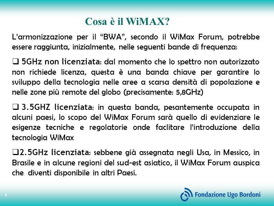 Cosa è il WiMAX L'armonizzazione per il BWA , secondo il WiMax Forum, potrebbe essere raggiunta, inizialmente, nelle seguenti bande di frequenza: