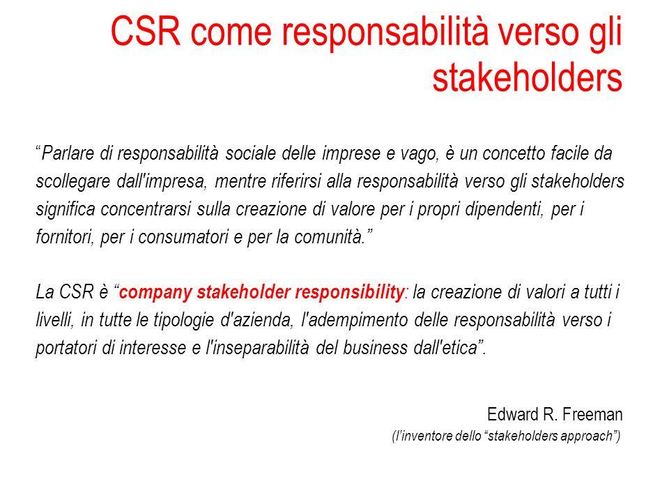 CSR come responsabilità verso gli stakeholders