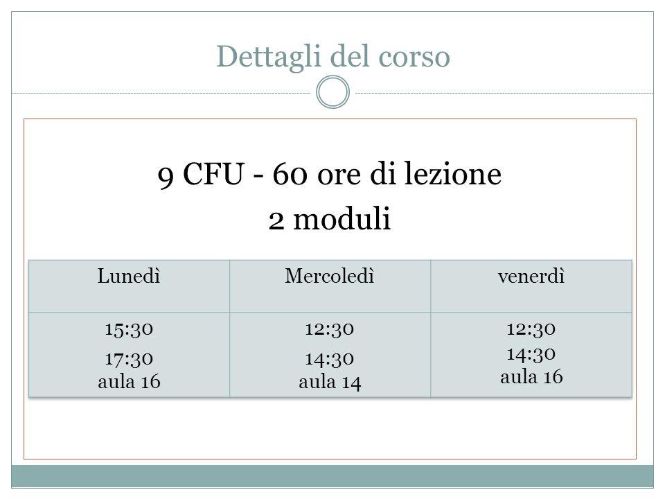 9 CFU - 60 ore di lezione 2 moduli Dettagli del corso Lunedì Mercoledì