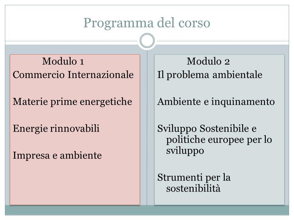 Programma del corso Modulo 1 Commercio Internazionale Materie prime energetiche Energie rinnovabili Impresa e ambiente