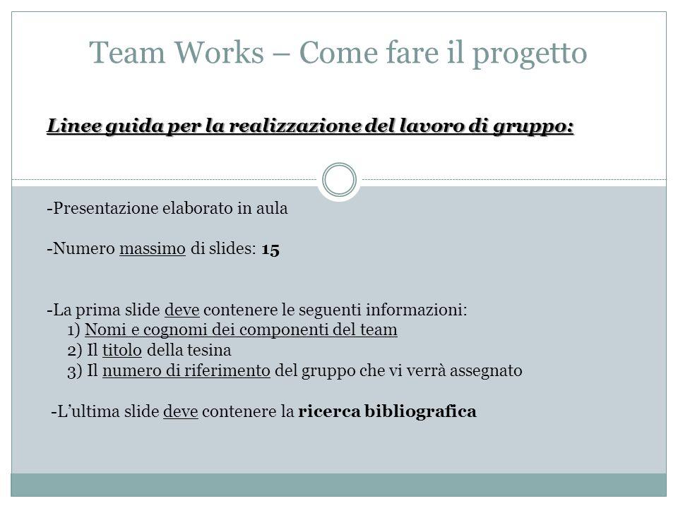Team Works – Come fare il progetto