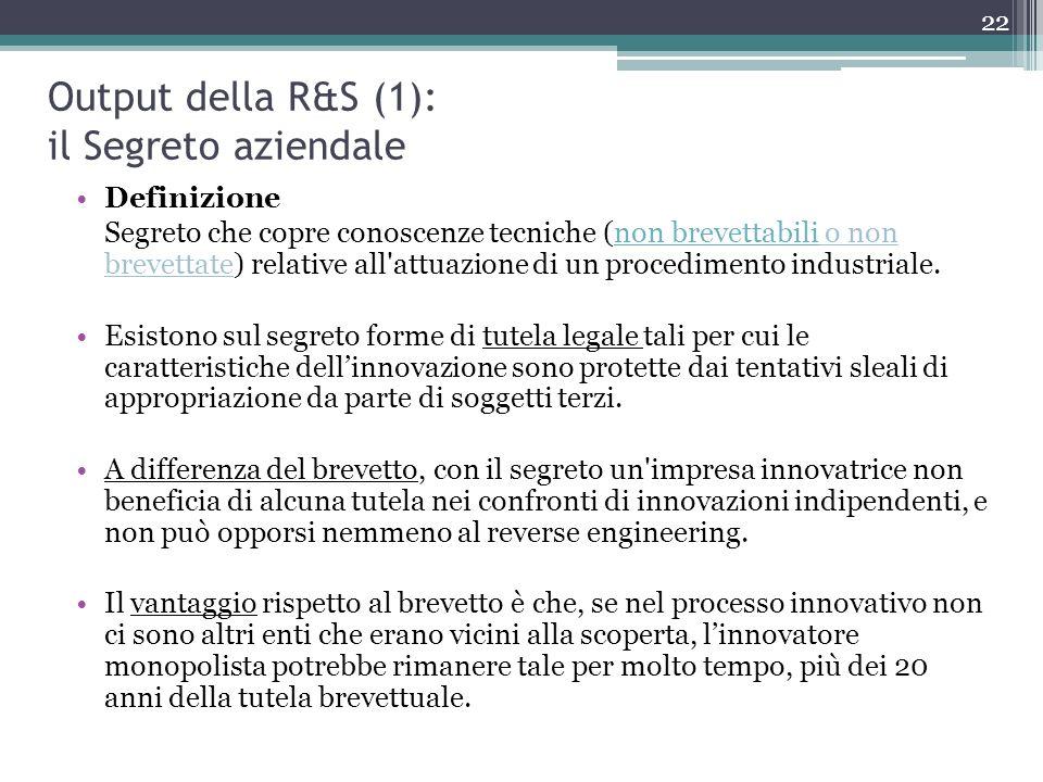 Output della R&S (1): il Segreto aziendale