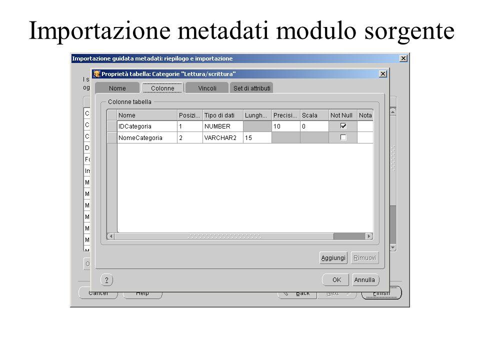 Importazione metadati modulo sorgente