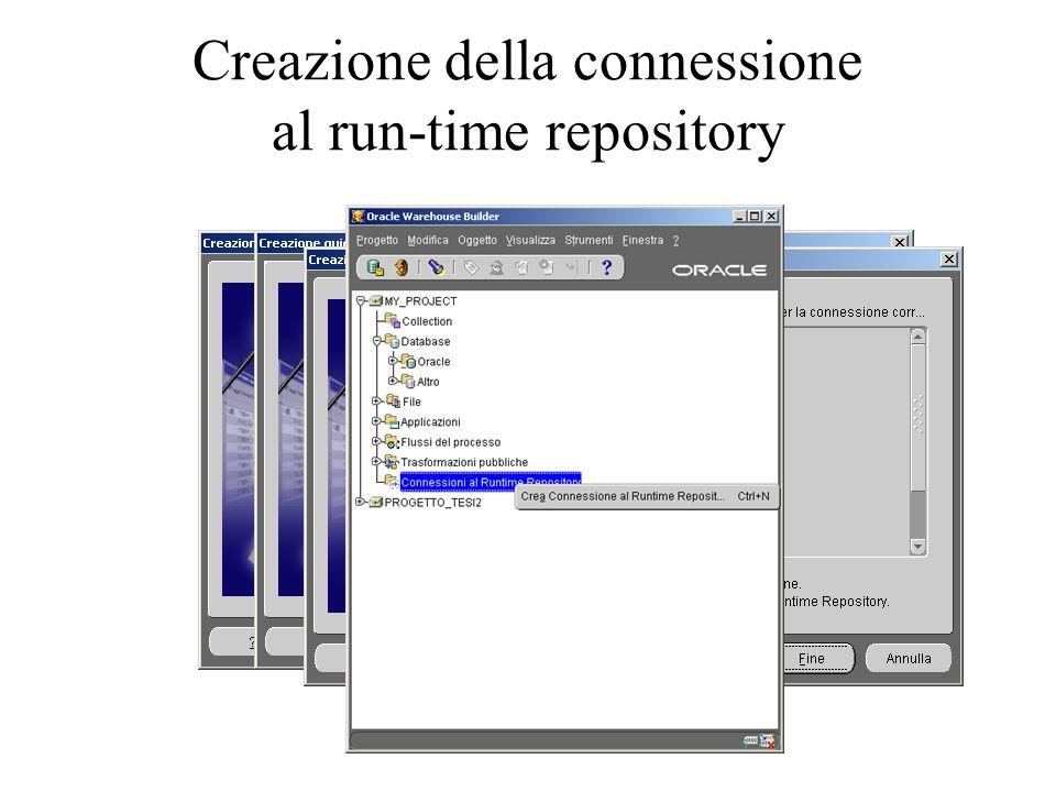 Creazione della connessione al run-time repository
