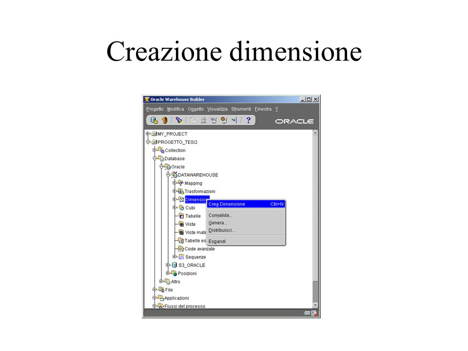 Creazione dimensione