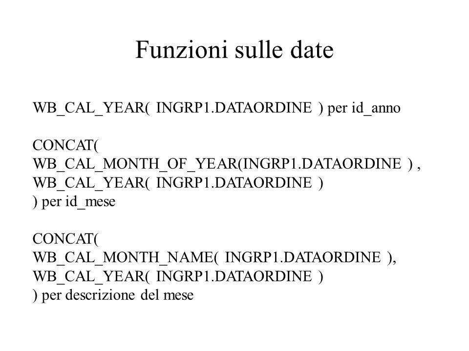 Funzioni sulle date WB_CAL_YEAR( INGRP1.DATAORDINE ) per id_anno