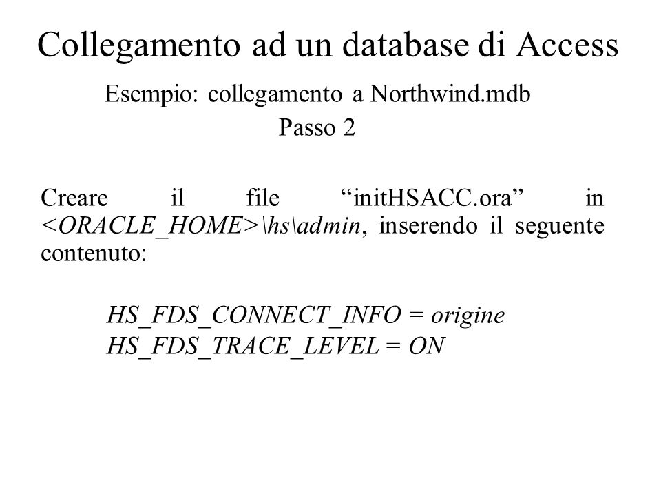 Collegamento ad un database di Access