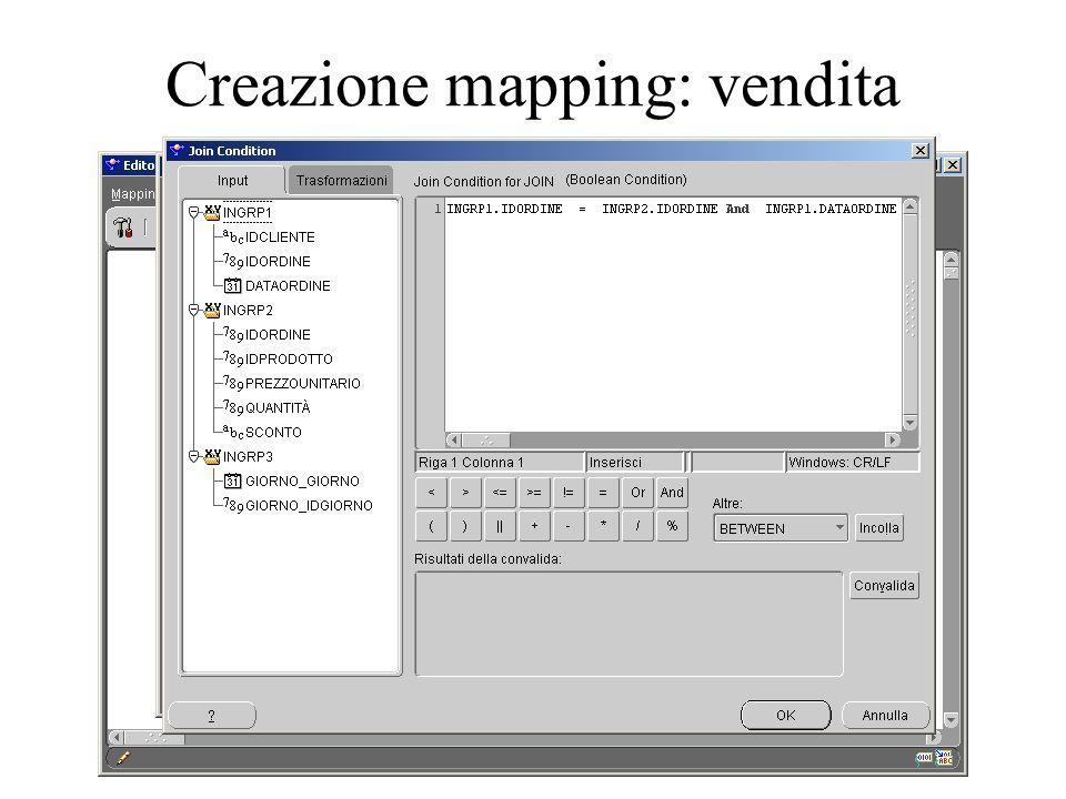 Creazione mapping: vendita