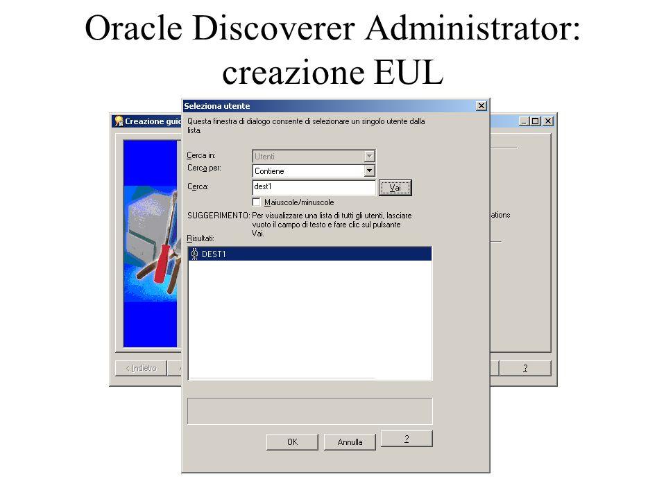Oracle Discoverer Administrator: creazione EUL