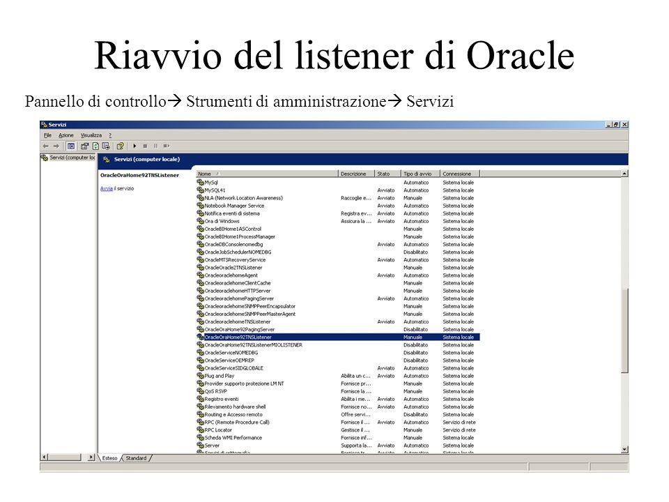 Riavvio del listener di Oracle
