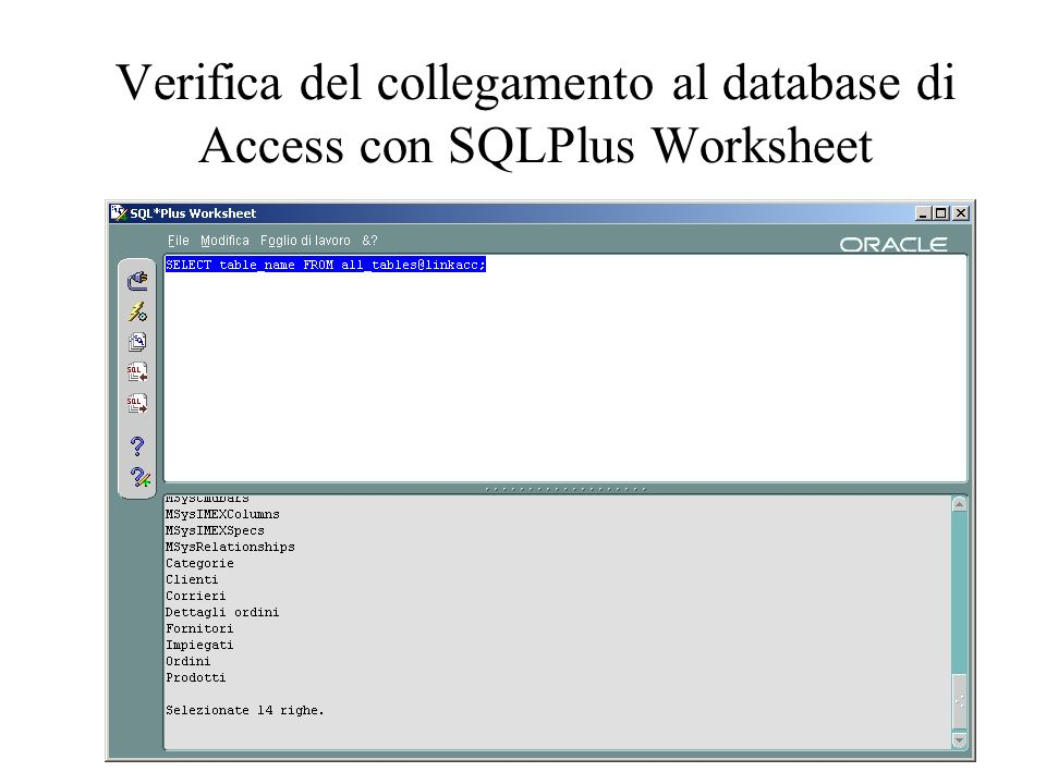 Verifica del collegamento al database di Access con SQLPlus Worksheet