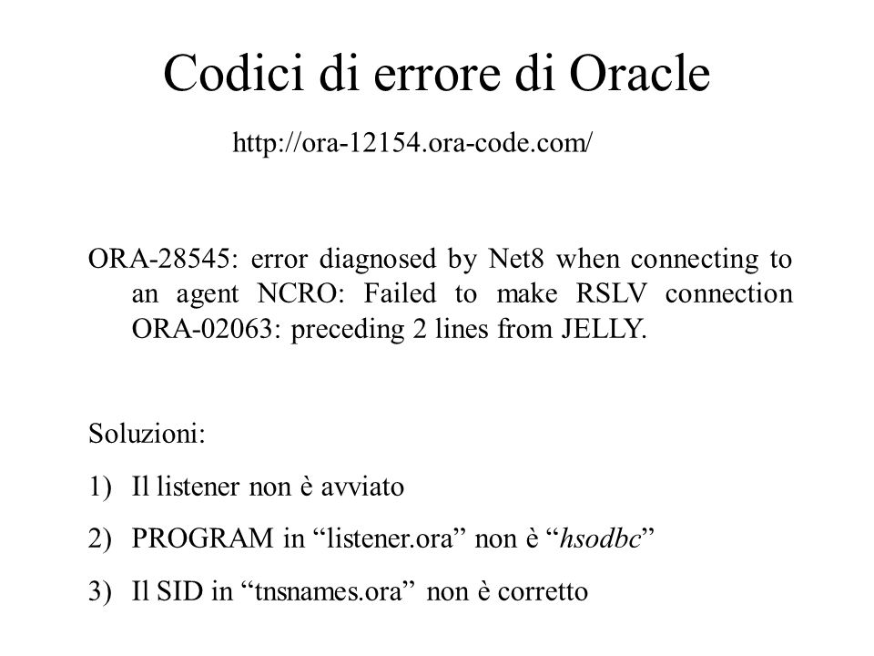 Codici di errore di Oracle