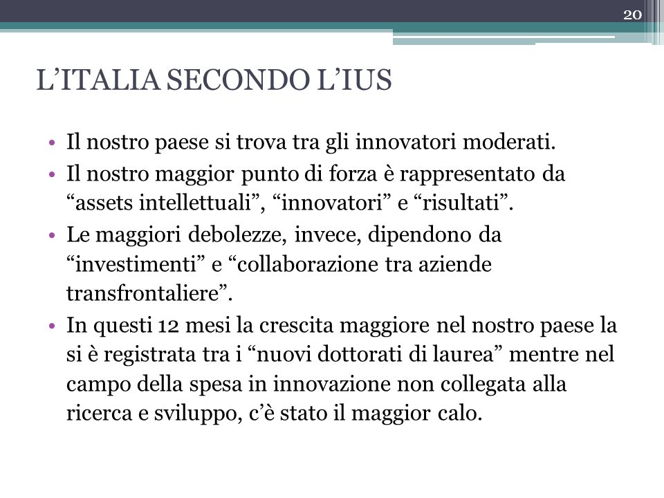L'ITALIA SECONDO L'IUS