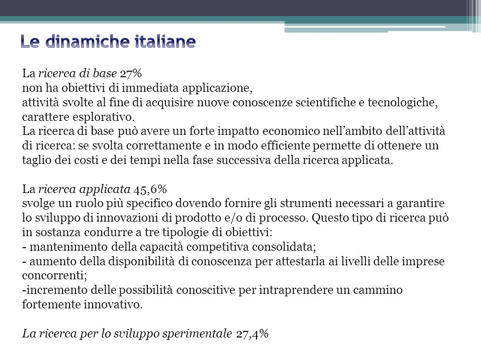Le dinamiche italiane La ricerca di base 27%