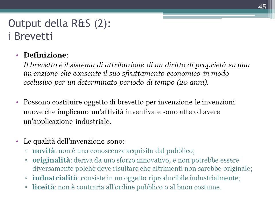 Output della R&S (2): i Brevetti