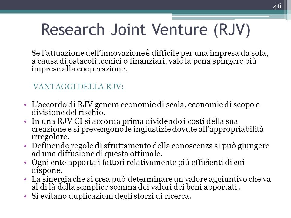 Research Joint Venture (RJV)