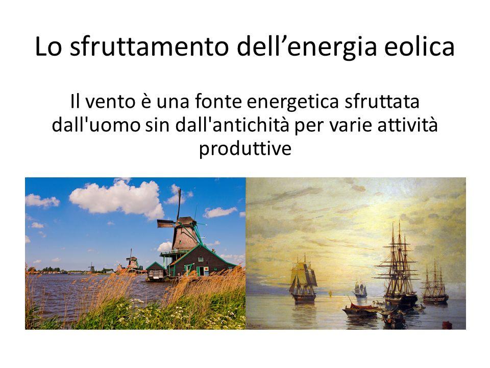 Lo sfruttamento dell'energia eolica