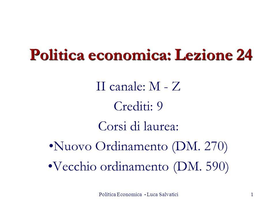 Politica economica: Lezione 24