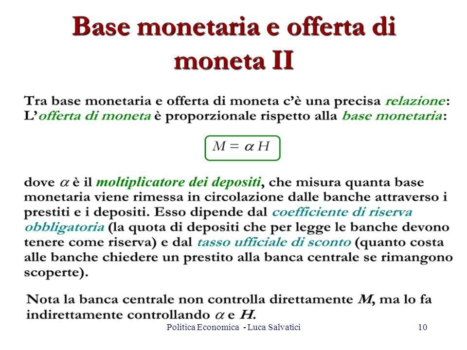 Base monetaria e offerta di moneta II