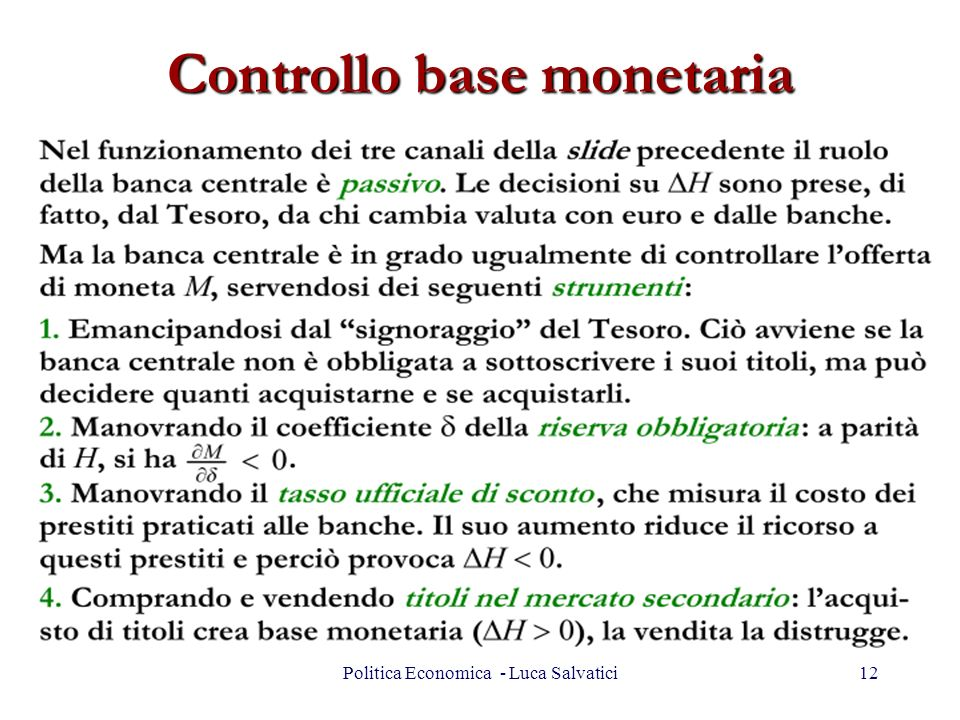 Controllo base monetaria