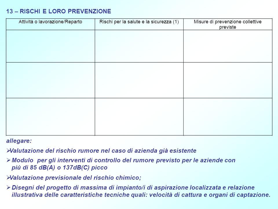 13 – RISCHI E LORO PREVENZIONE