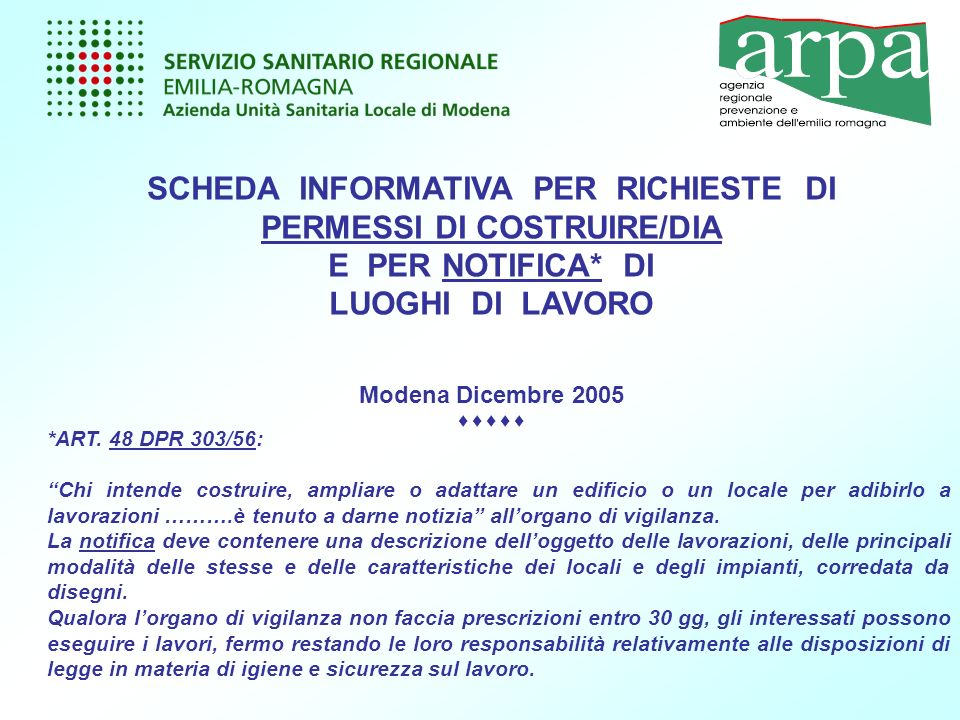 SCHEDA INFORMATIVA PER RICHIESTE DI PERMESSI DI COSTRUIRE/DIA