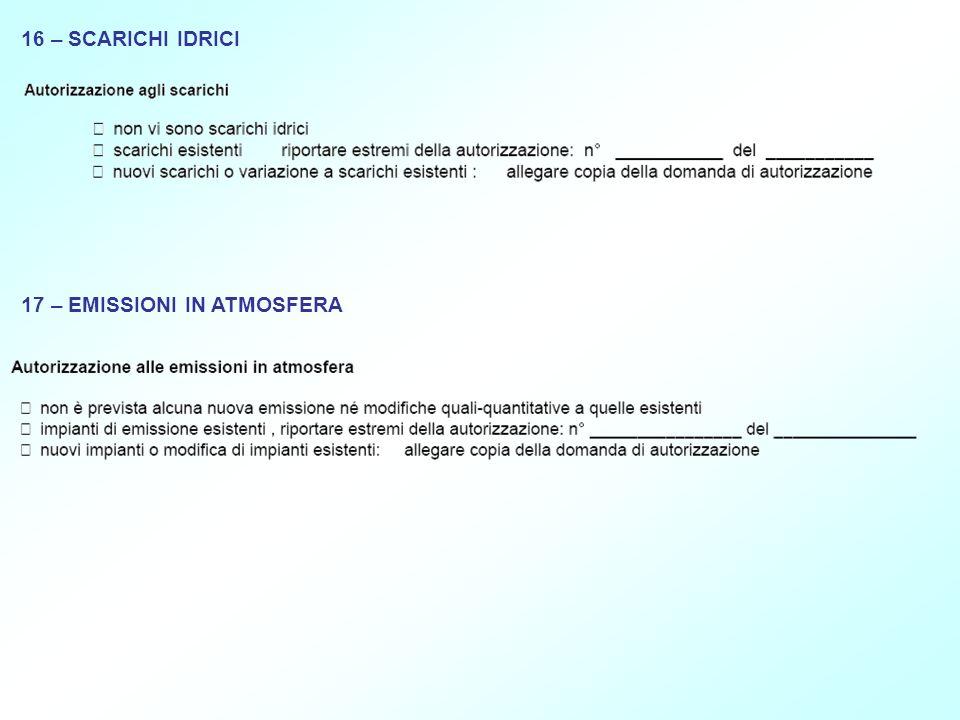 16 – SCARICHI IDRICI 17 – EMISSIONI IN ATMOSFERA