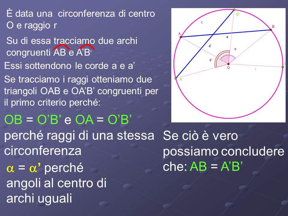 OB = O'B' e OA = O'B' perché raggi di una stessa circonferenza