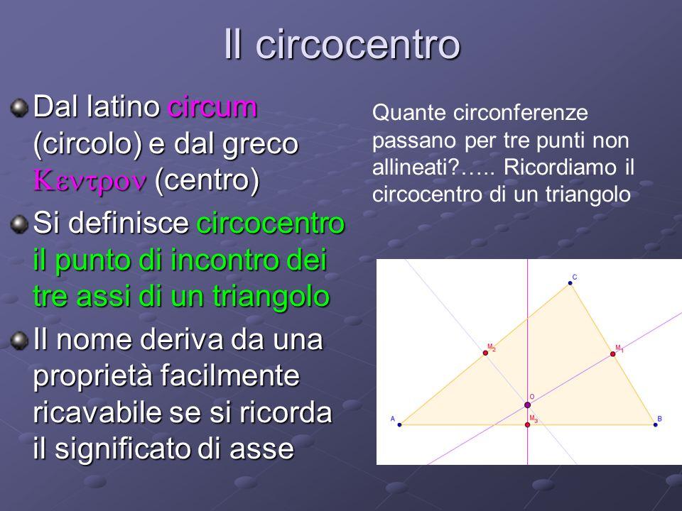 Il circocentro Dal latino circum (circolo) e dal greco Kentron (centro) Si definisce circocentro il punto di incontro dei tre assi di un triangolo.