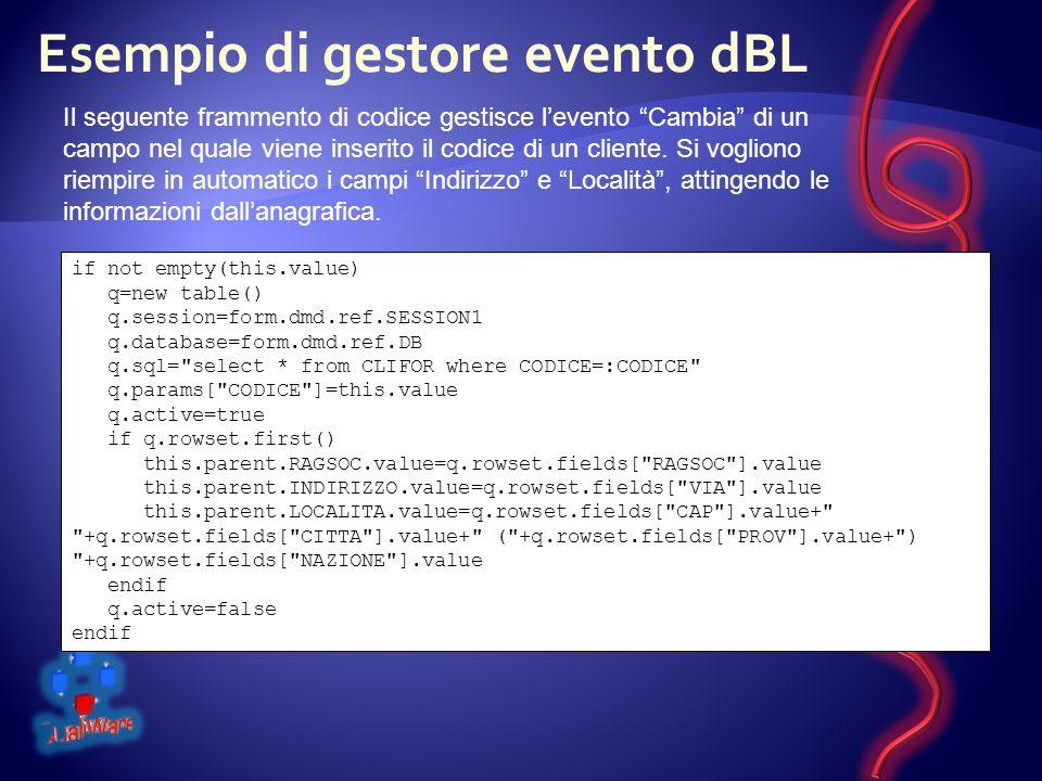 Esempio di gestore evento dBL