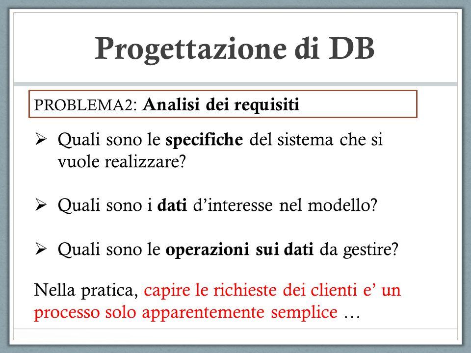 Progettazione di DB PROBLEMA2: Analisi dei requisiti. Quali sono le specifiche del sistema che si vuole realizzare