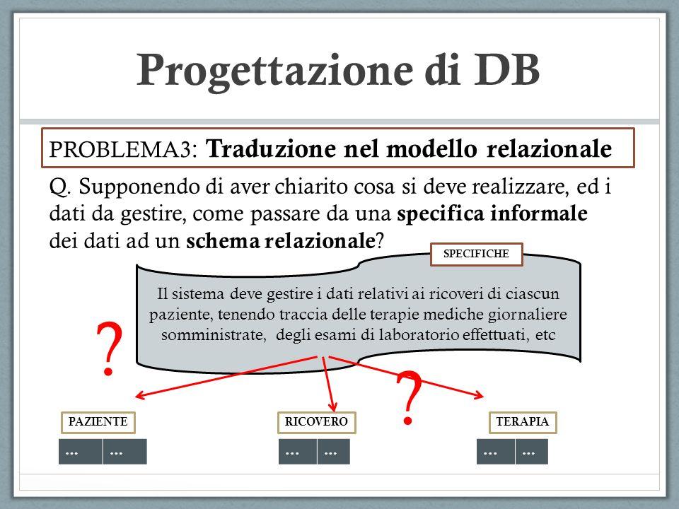 Progettazione di DB PROBLEMA3: Traduzione nel modello relazionale