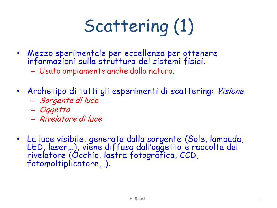 Scattering (1) Mezzo sperimentale per eccellenza per ottenere informazioni sulla struttura del sistemi fisici.